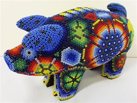 details  huichol pig animal woodcarving  beaded