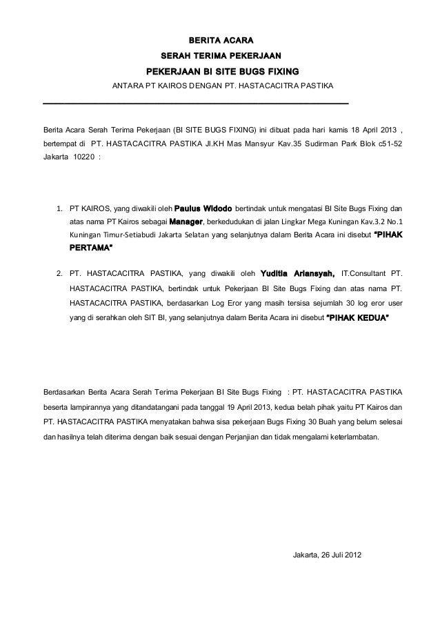 Contoh Format Berita Acara Serah Terima Barang Inventaris Kantor Contoh 36