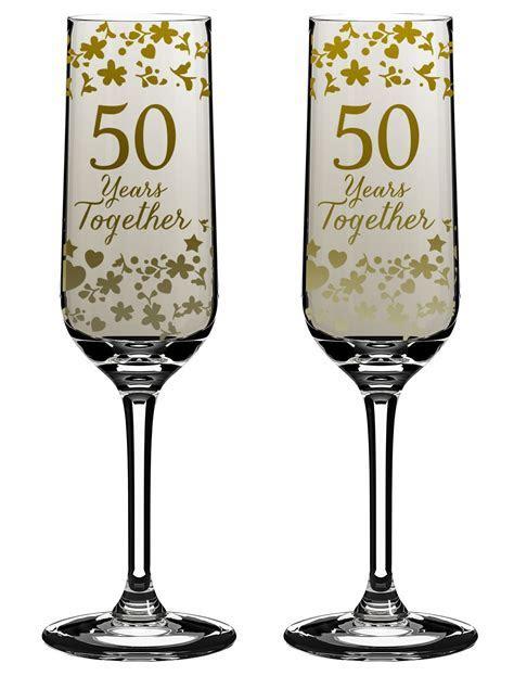 Golden 50th Wedding Anniversary Champagne Flutes Gift Set
