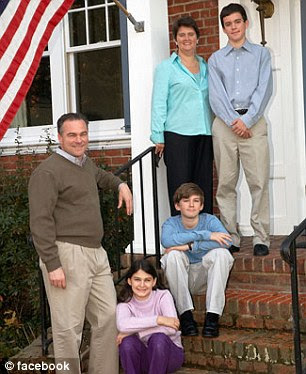 Kaine and his wife are pictured in family photos with their three children: Nat, Annella and Woody