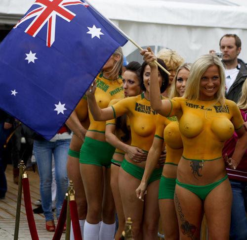 Bodypainted soccer fans