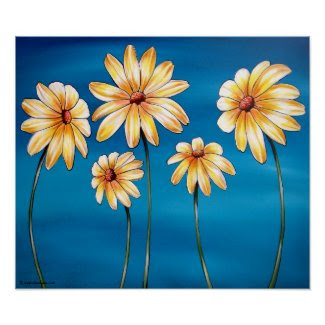 Daisies on Blue Art Print print