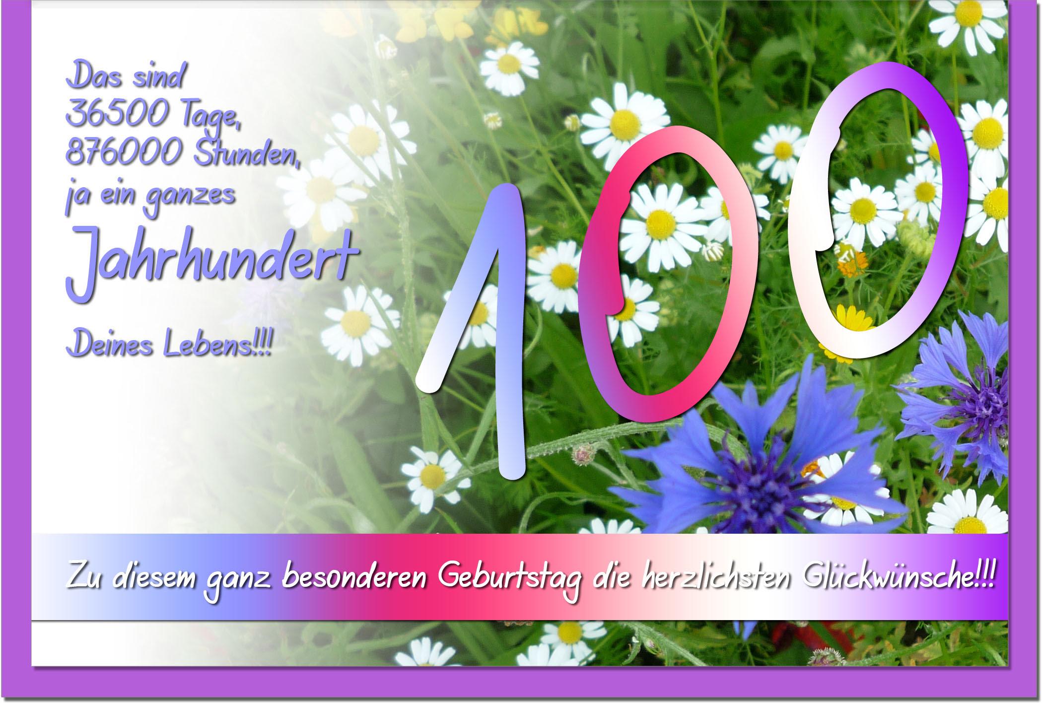 Herzliche Glückwünsche Zum 100 Geburtstag