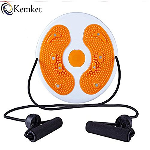 Kemket Magnetic Waist Twister Disc Fitness Massage Round With Hand Ropes And Without Ropes Foot Massager Stepper wriggled plate (Orange, With Ropes)