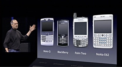 Steve Jobs at Macworld Expo 2007, showing the leading smartphones prior to the iPhone.
