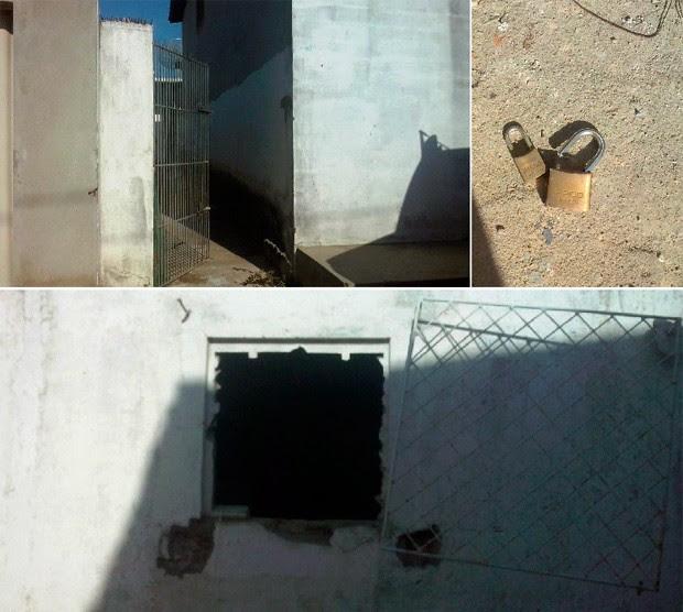 Segundo a PM, primeiro os ladrões arrombaram o portão dos fundos da agência. Depois, uma pequena janela da cozinha (Foto: Renilson Frutuoso/Nosonliner.com)