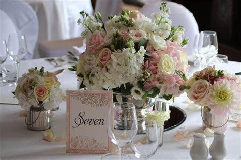 Vintage blush and ivory rose bowl wedding table