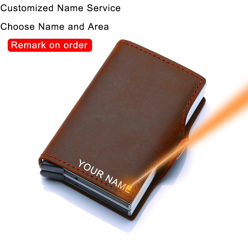 Cheap Genuine Leather Men Women Credit Card Holder Security Wallet Big Metal Rfid Blocking Double Box Creditcard Case Bag Protection