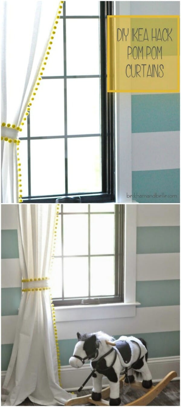 Easy DIY Pom Pom Curtains Ideas and Windows Blinds