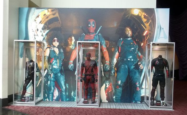 The Deadpool, Domino and Bedlam costumes from DEADPOOL 2 on display at ArcLight Cinemas in Hollywood...on May 29, 2018.