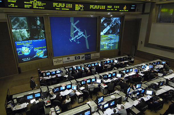 Technicians at Russian Mission Control in Korolev, Russia watch video of the International Space Station. The ISS is now in the middle of its 17th Expedition.