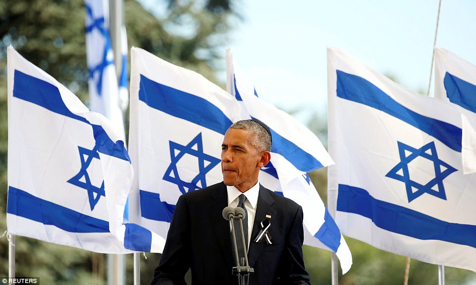 Plea: Presidente dos EUA, Barack Obama eulogises ex-presidente israelense, Shimon Peres, comparando-o a Nelson Mandela, a rainha e outras grandes figuras do século 20 - e esperava seu funeral pode alavancar um processo de paz