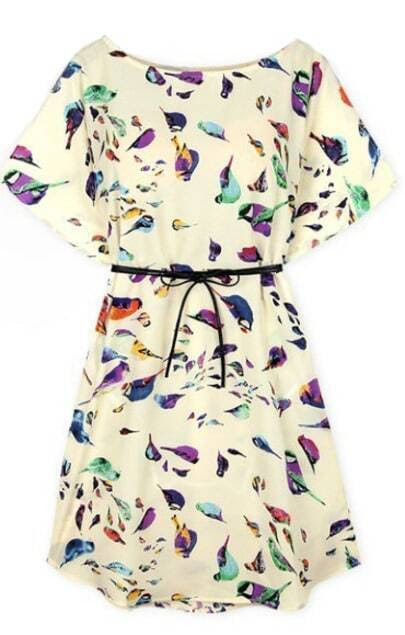 Batwing Birds Print Shift Dress pictures