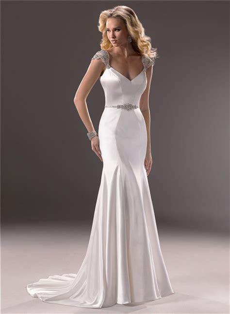 Sexy Mermaid V Neckline Open Back Satin Wedding Dress With