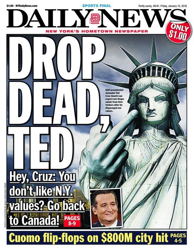 CRUZ ON FRONT PAGE OF NEW YORK DAILY NEWS -- MUST SEE - Democratic ...