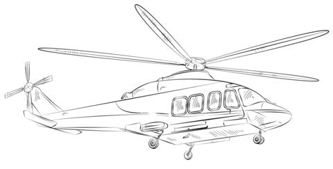 Dibujo De Helicóptero Civil Para Colorear Dibujos Para Colorear