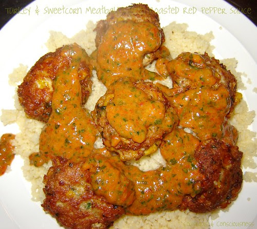 Turkey & Sweetcorn Meatballs with Roasted Red Pepper Sauce 1