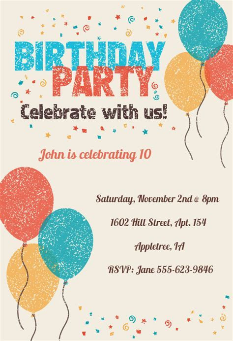 Celebrate with Us   Birthday Invitation Template (Free