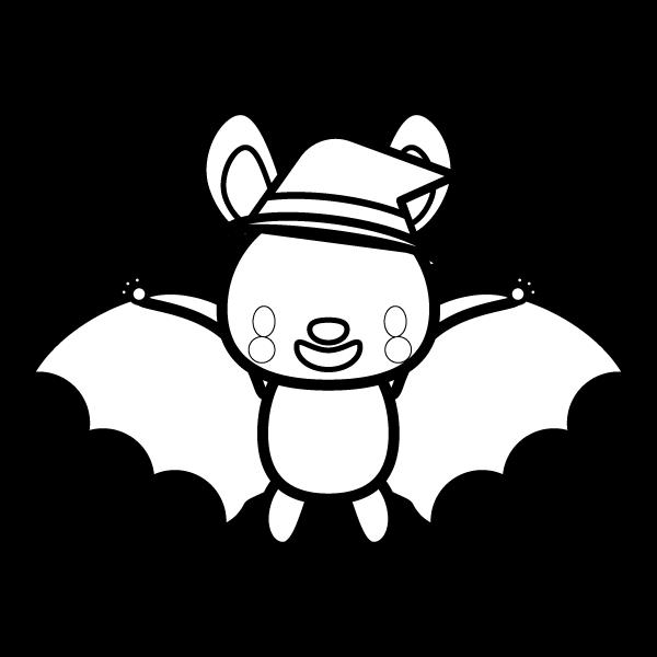 かわいいハロウィンのコウモリの無料イラスト商用フリー オイデ43