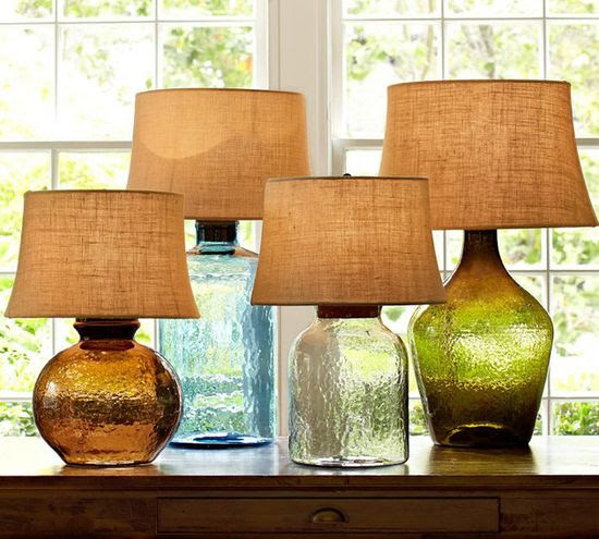 Decor / Colored Glass Table Lamps from Pottery Barn - Clift collection