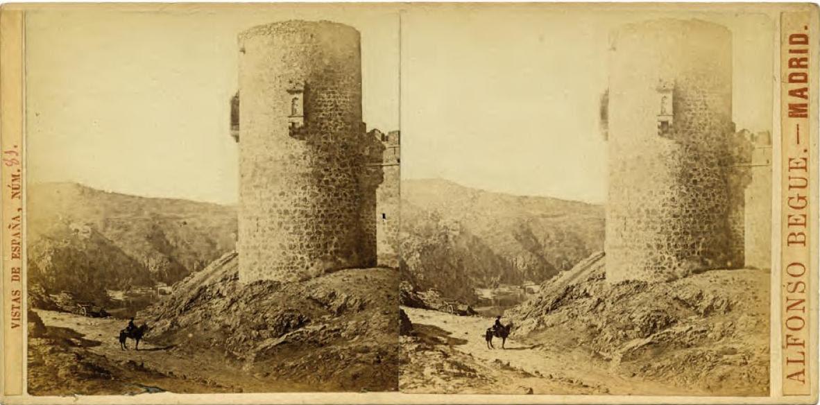 Fotografía estereoscópica del Castillo de San Servando hacia 1858 tomada por Alfonso Begue para su colección Vistas de España