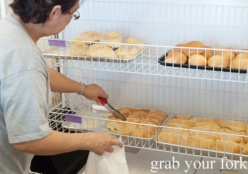 Pandesal, Spanish bread and ensaymadas with cheese at Pandesal Bakehouse, Beverly Hills