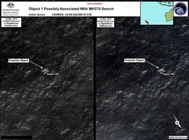 Imagens de satélite divulgadas pelo governo australiano mostram objetos achados no oceano que poderiam ser os destroços do voo MH370 da Malaysian Airlines, desaparecido desde 8 de março (Foto: Australian Government's Department of Defence via the Australian Maritime Safety Authority/AFP)