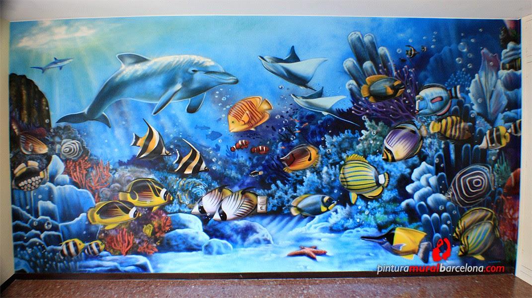 Mural Pintado Fondo Marino Spray Pintura Mural Barcelona Mateo