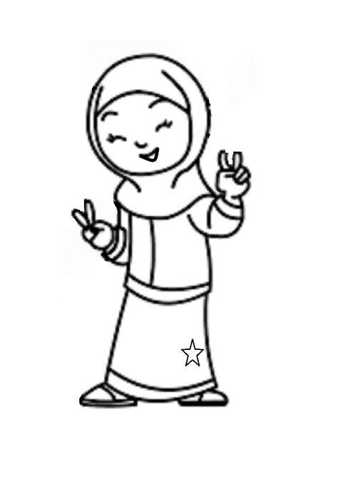 mewarnai gambar anak muslimah  alquranmulia