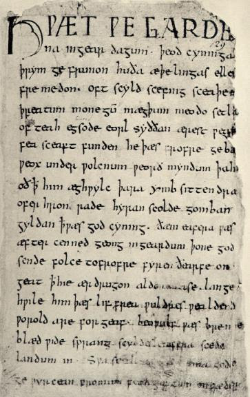 Beowulf_firstpage pd wikimedia commons