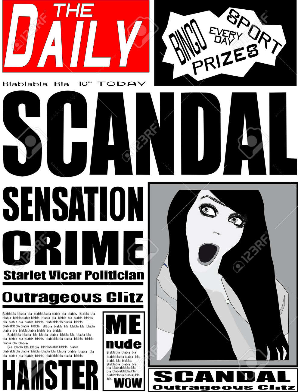 Typical UK Daily Newspaper Front Page Royalty Free Cliparts ...