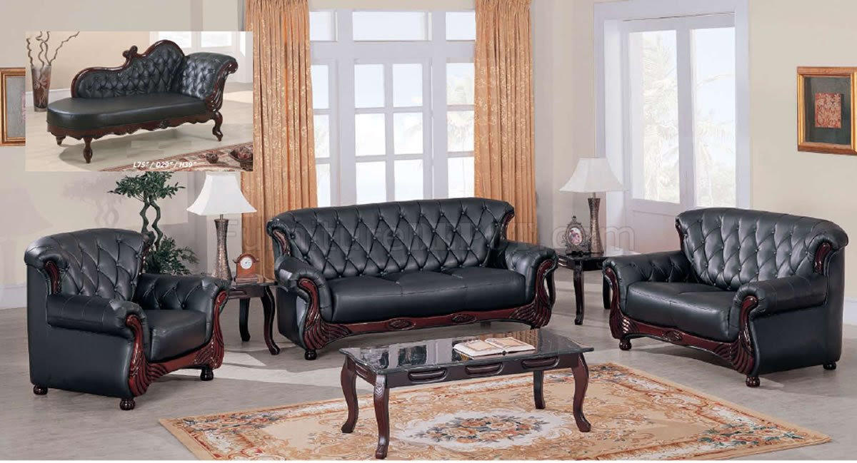 Black Leather Classic Living Room Sofa W/Button-Tufted Backs