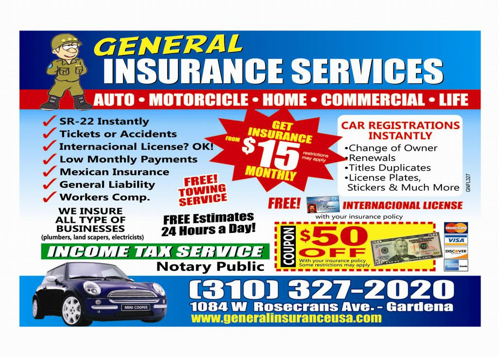 FLYER ENGLISH from General Insurance in Gardena, CA 90247 ...