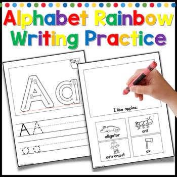 alphabet practice and rainbow writing, good for kindergarten centers