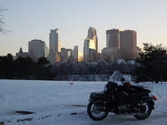 Ural and Minneapolis Skyline at Sunset
