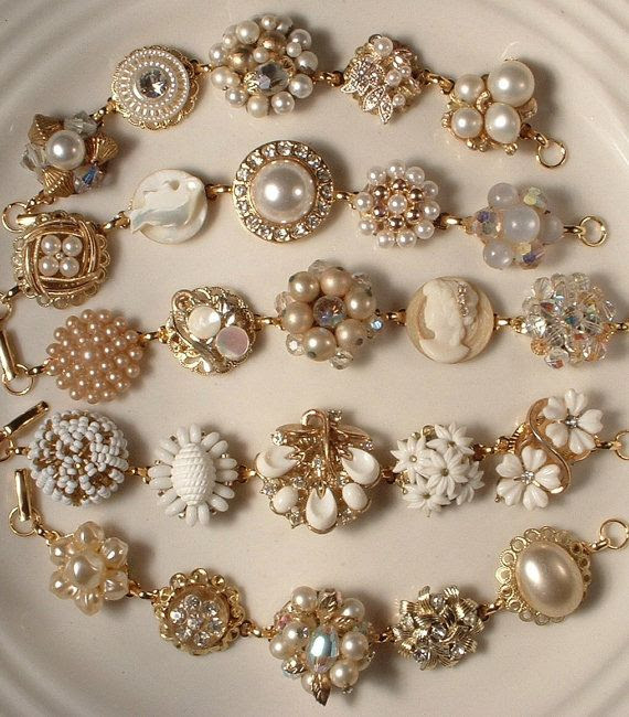 "DIY:: Vintage Costume Jewelry: Upcycled & Repurposed made out of those ""lost 1 earring"" now what? Bracelets, that's what!"