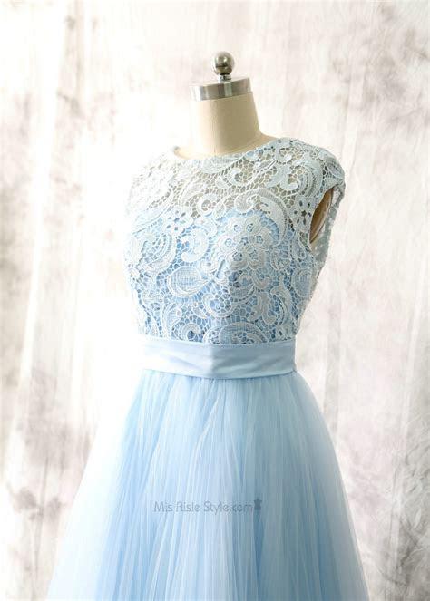 keyhole  light blue lace bridesmaid dress