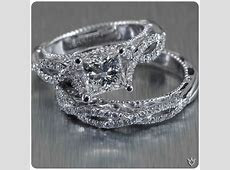 Verragio white gold, diamond encrusted, twisted shank band, princess cut center stone and a