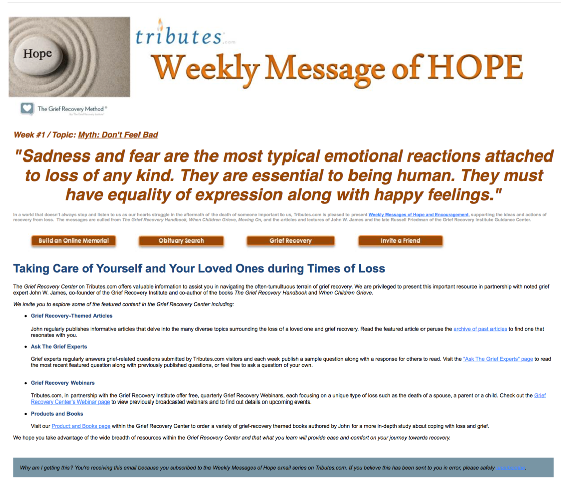 Messages Of Hope From The Grief Recovery Institute Tributescom