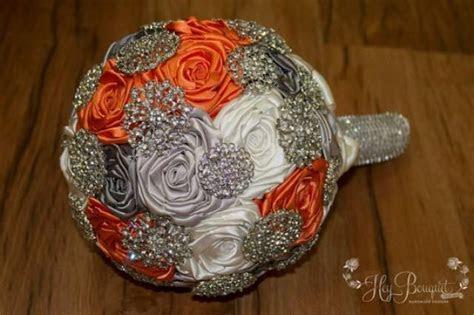 Orange Brooch Bouquet, CUSTOM MADE, Orange, Grey, Silver