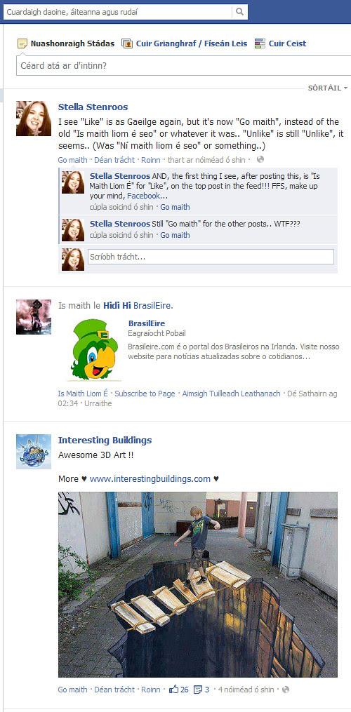 """Irish """"Likes"""" on Facebook.."""