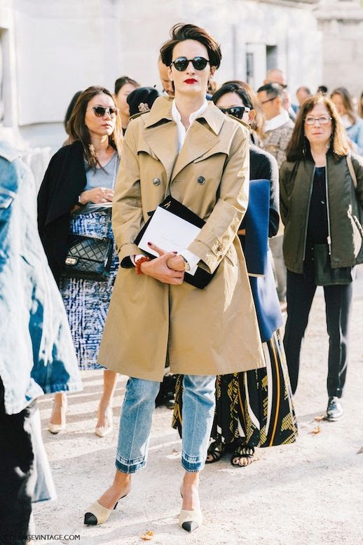 Le Fashion Blog Street Style Pfw Short Hair Pearl Earrings Red Lips Camel Trench Coat White Button Down Shirt Clutch Cropped Jeans With Contrasting Hem Cap Toe Mule Pumps Via Collage Vintage