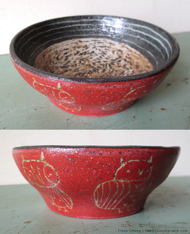 Stoneware Owl Bowl
