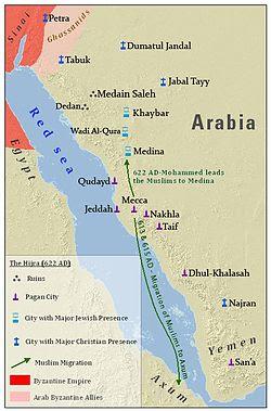 Hégira de Meca para Medina - mapa