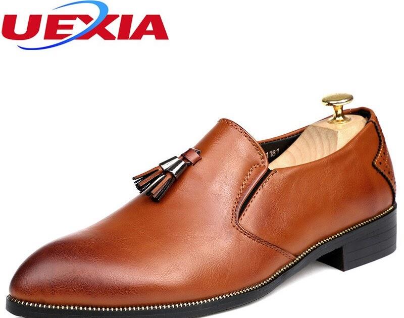 dea484652b6 Comprar Moda Hombres De Negocios Vestido Zapatos Brogues Cuero Super Fibra  Pisos Punta Estrecha Boda Formal Oficina Lujo Borlas Oxford Online Baratos  ~ ...
