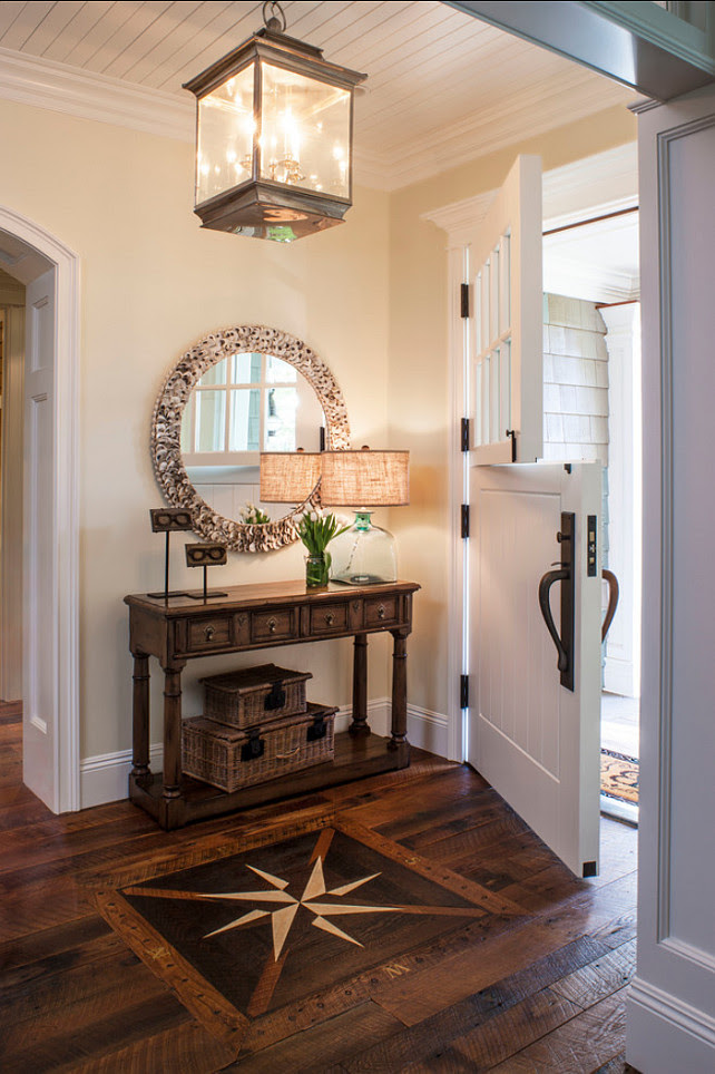 Entry Hall. Entry Hall Design Ideas.  An inlaid compass rose sets a nautical note in the entry hall. #Entryhall #Entryway #Foyer