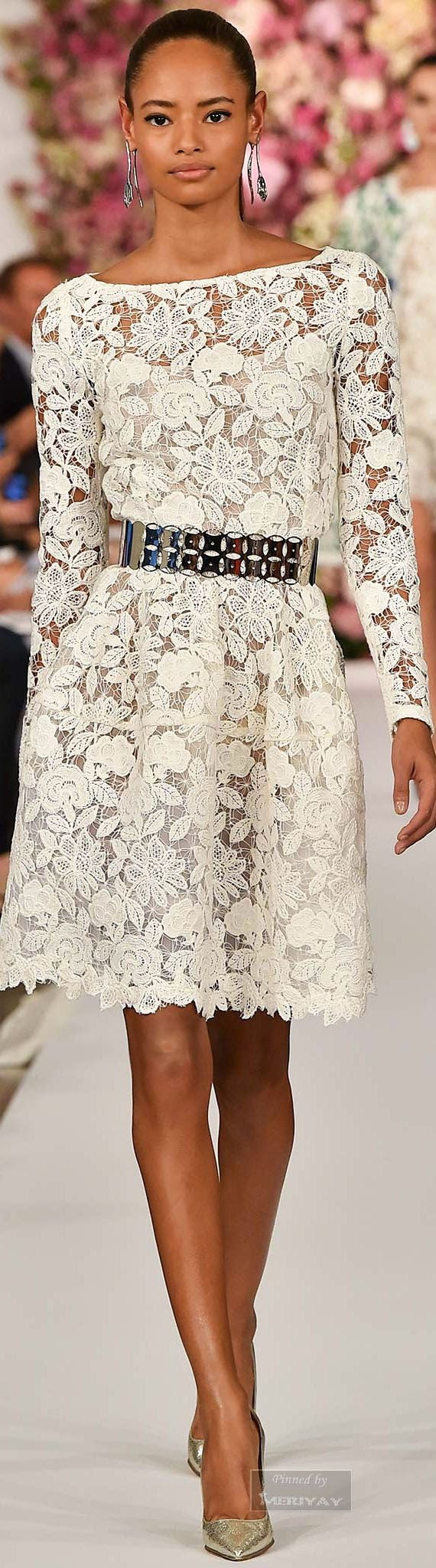 Oscar de la Renta.Spring 2015. Love the dress, ditch the belt for a satin sash or wide tan leather belt.