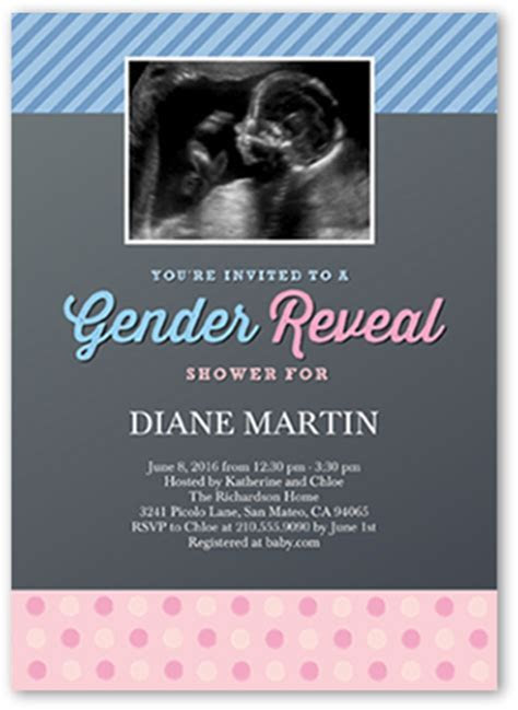 Gender Reveal 5x7 Baby Shower Invitations   Shutterfly