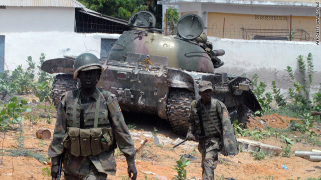 African Union peacekeepers in Mogadishu, where they engaged in heavy fighting with Al-Shabaab militants on July 29.