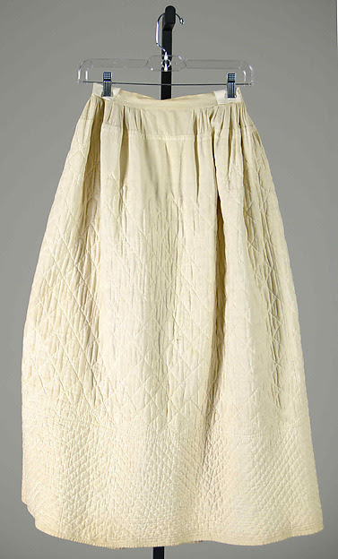Diamond-quilted white cotton petticoat c.1860-1870, from The Met.
